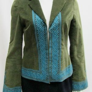 Tory Burch 4 Olive Green Velvet Jacket